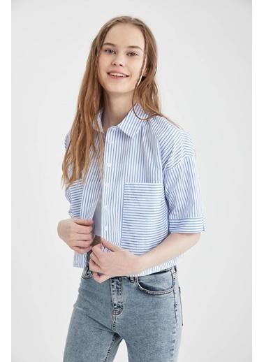 DeFacto Relax Fit Çizgili Kısa Kollu Gömlek Mavi